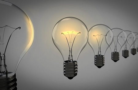 Light bulbs symbolising ideas